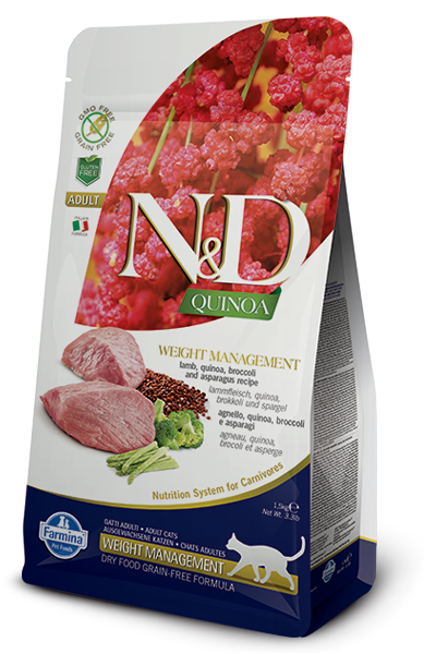 Farmina N&D Quinoa Weight Management Lamb Dry Cat Food, 3.3-lb