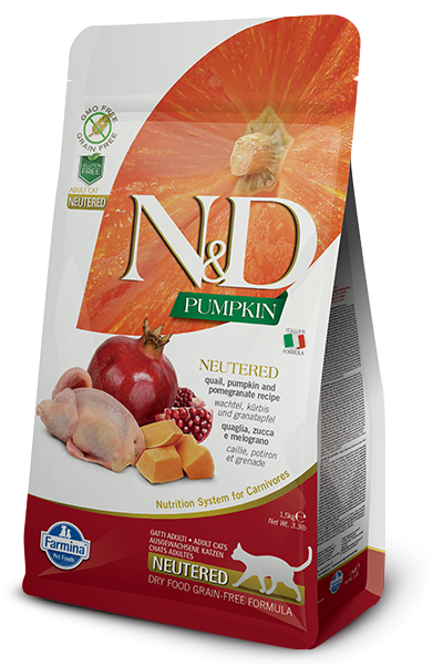 Farmina N&D Pumpkin Quail & Pomegranate Neutered Dry Cat Food, 3.3-lb