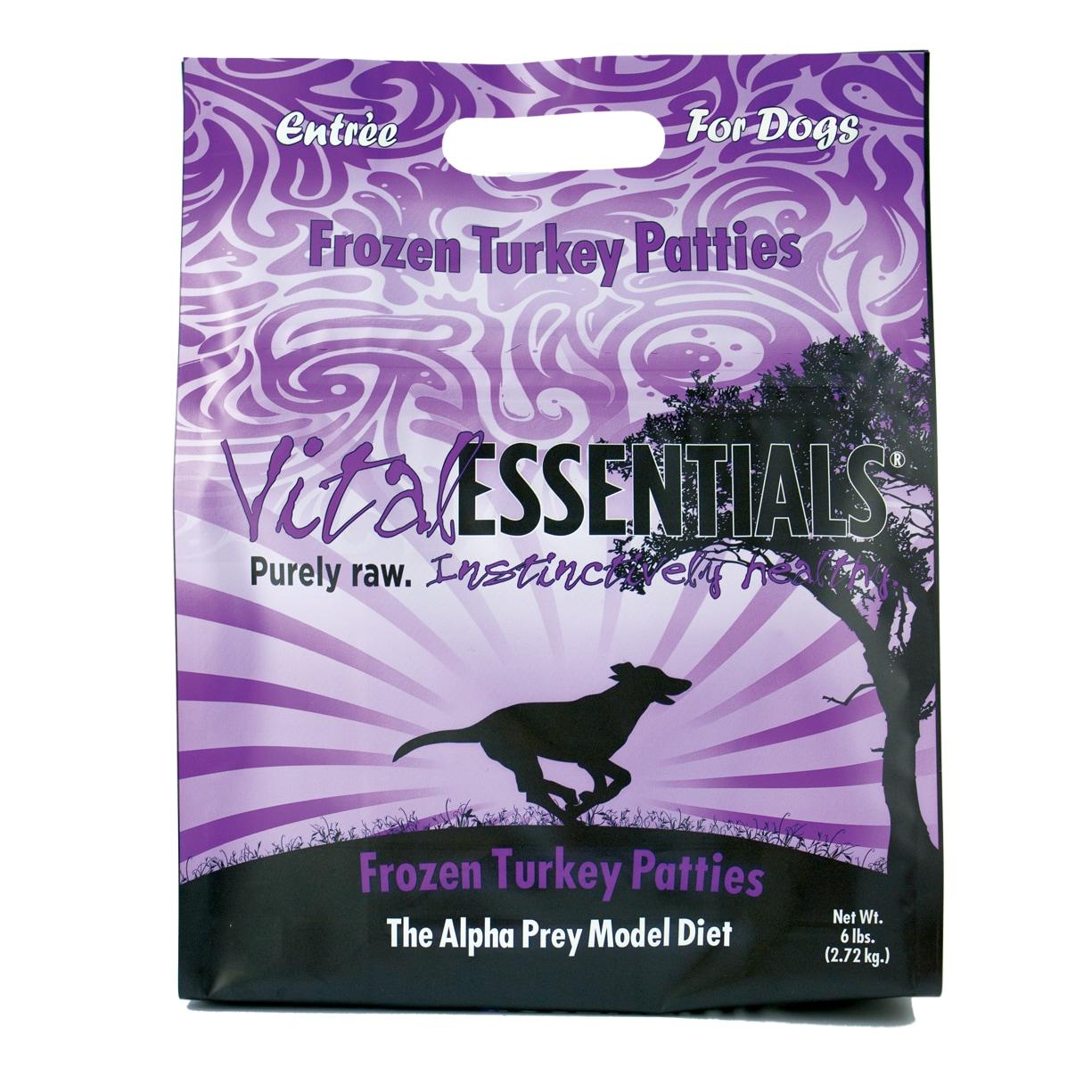Vital Essentials Turkey Frozen 8z Patties Entrée 6lbs