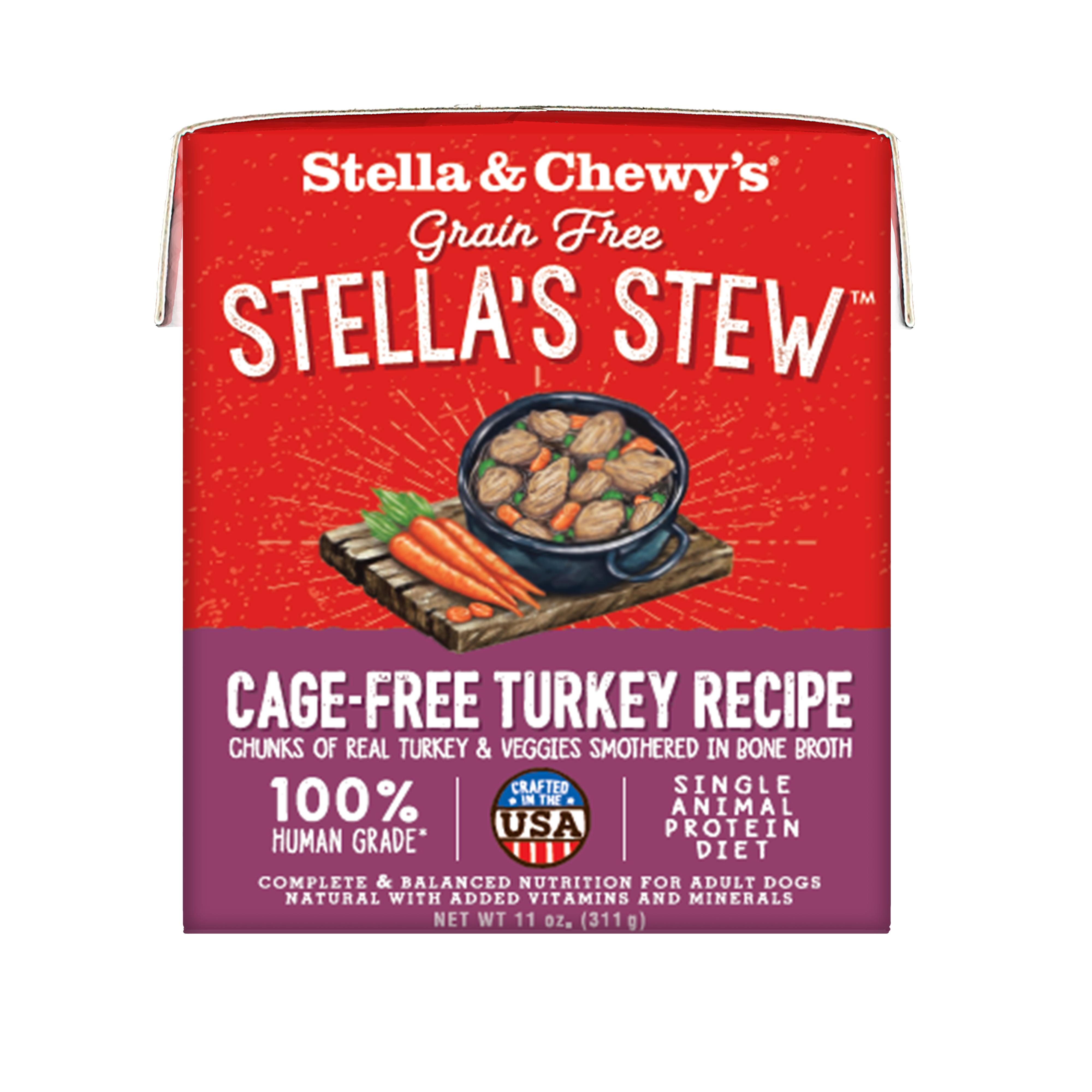 Stella & Chewy's Stella's Stew Cage-Free Turkey Wet Dog Food, 11-oz