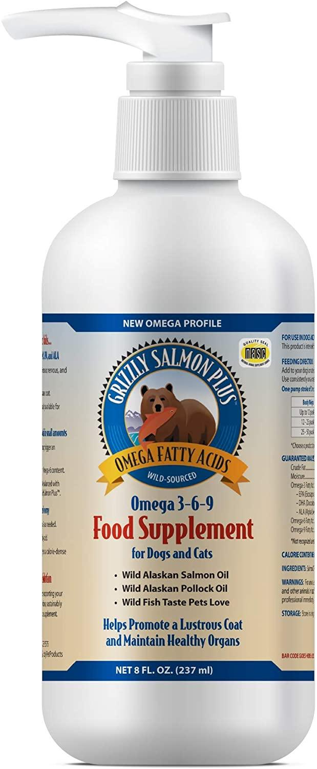 Grizzly Salmon Plus Food Supplement for Dogs & Cats, 8-oz bottle