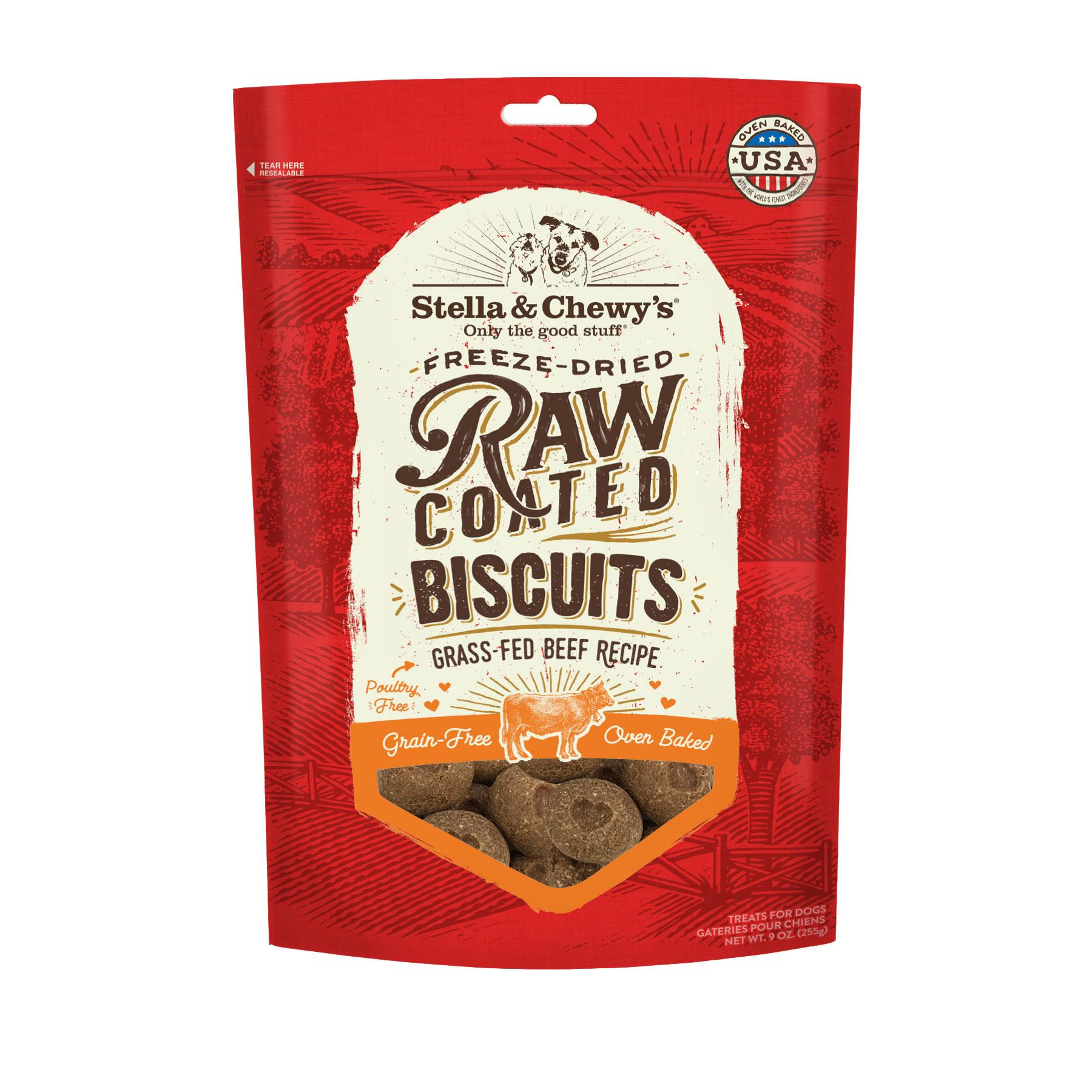 Stella & Chewy's Raw Coated Biscuits Grass-Fed Beef Recipe Dog Treats, 9-oz