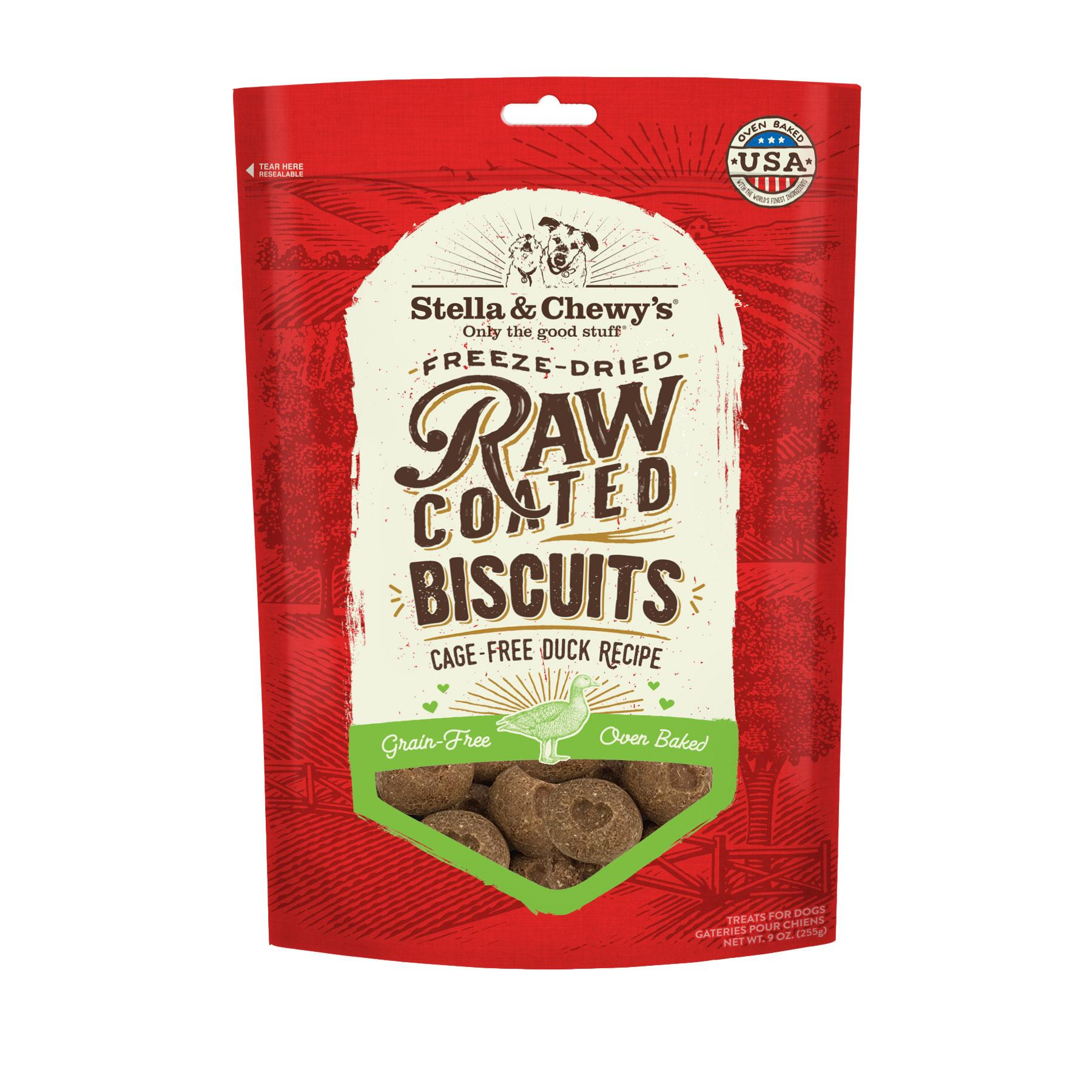 Stella & Chewy's Raw Coated Biscuits Cage-Free Duck Recipe Dog Treats, 9-oz (Size: 9-oz) Image