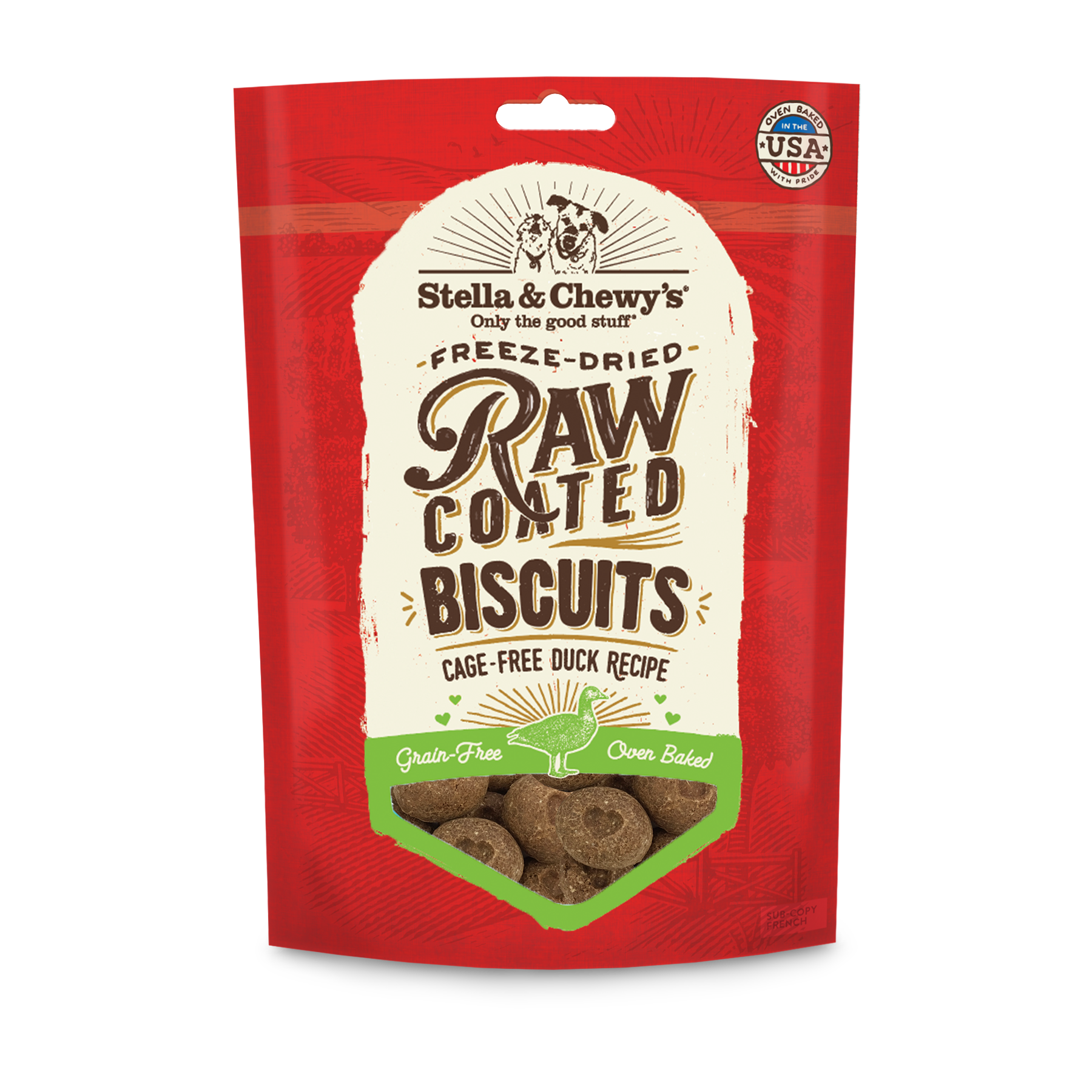 Stella & Chewy's Raw Coated Biscuits Cage-Free Duck Recipe Dog Treat, 9-oz