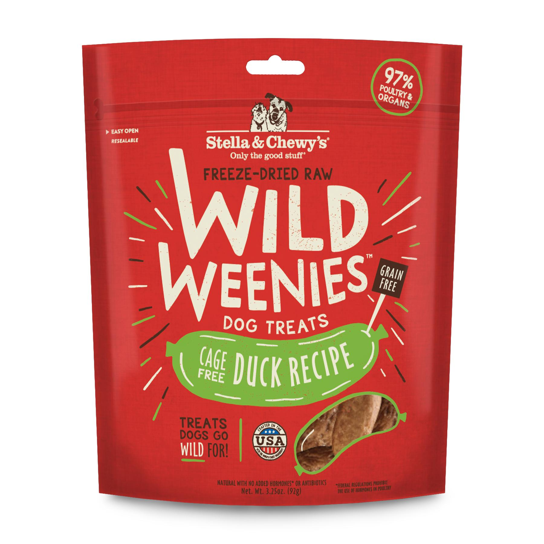 Stella & Chewy's Wild Weenies Cage-Free Duck Recipe Freeze-Dried Dog Treats, 3.25-oz