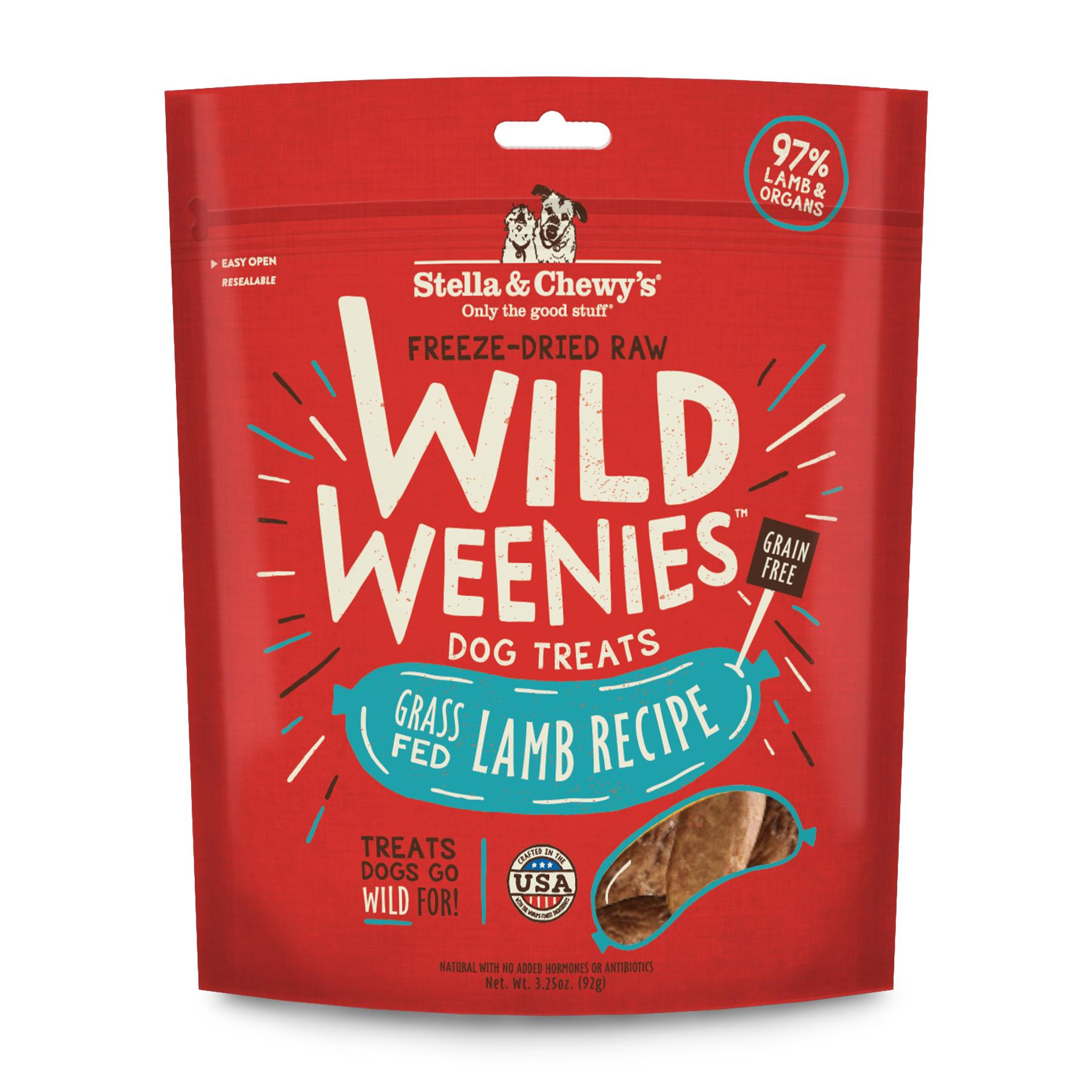 Stella & Chewy's Wild Weenies Grass-Fed Lamb Recipe Freeze-Dried Dog Treats, 3.25-oz