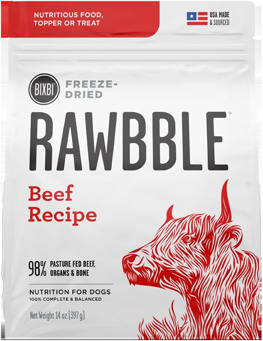 Bixbi Rawbble Beef Recipe Freeze-Dried Dog Food, 12-oz