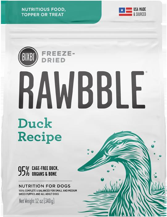 Bixbi Rawbble Duck Recipe Freeze-Dried Dog Food, 12-oz