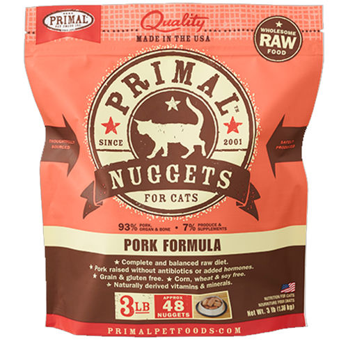 Primal Raw Nuggets Pork Formula Raw Frozen Cat Food, 3-lbs