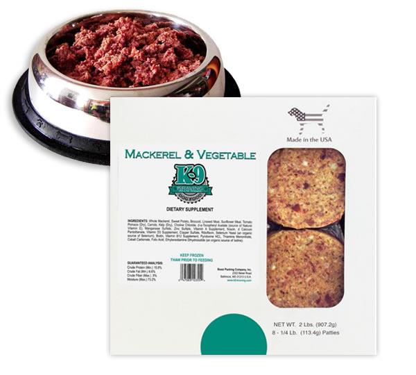 K-9 Kraving Mackerel & Vegetable Patties Raw Frozen Dog Food, 2-lb