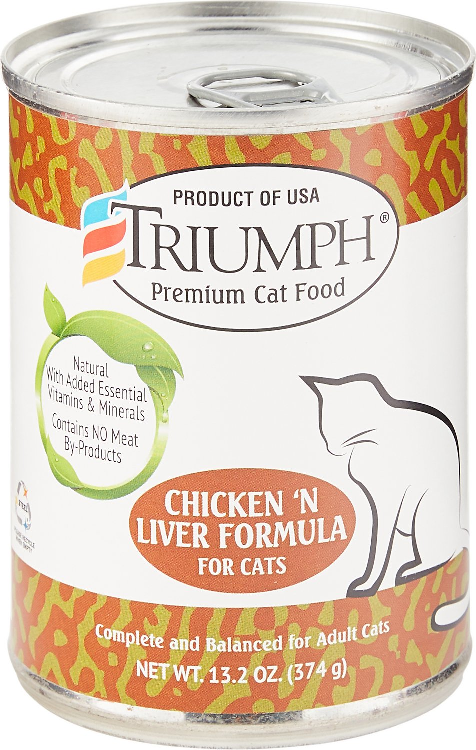 Triumph Chicken 'N Liver Formula Canned Cat Food, 13.2-oz