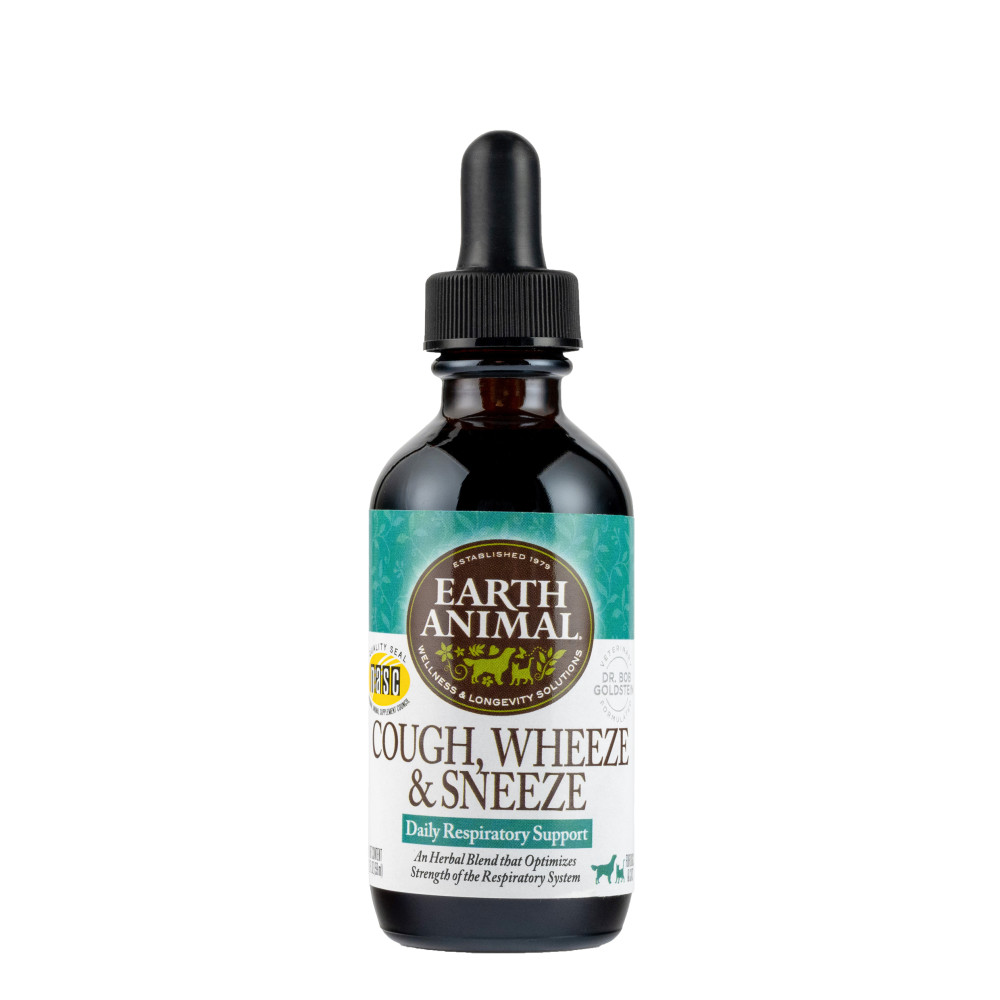 Earth Animal Organic Herbal Remedies Cough, Wheeze, & Sneeze for Dogs & Cats, 2-oz (Size: 2-oz) Image