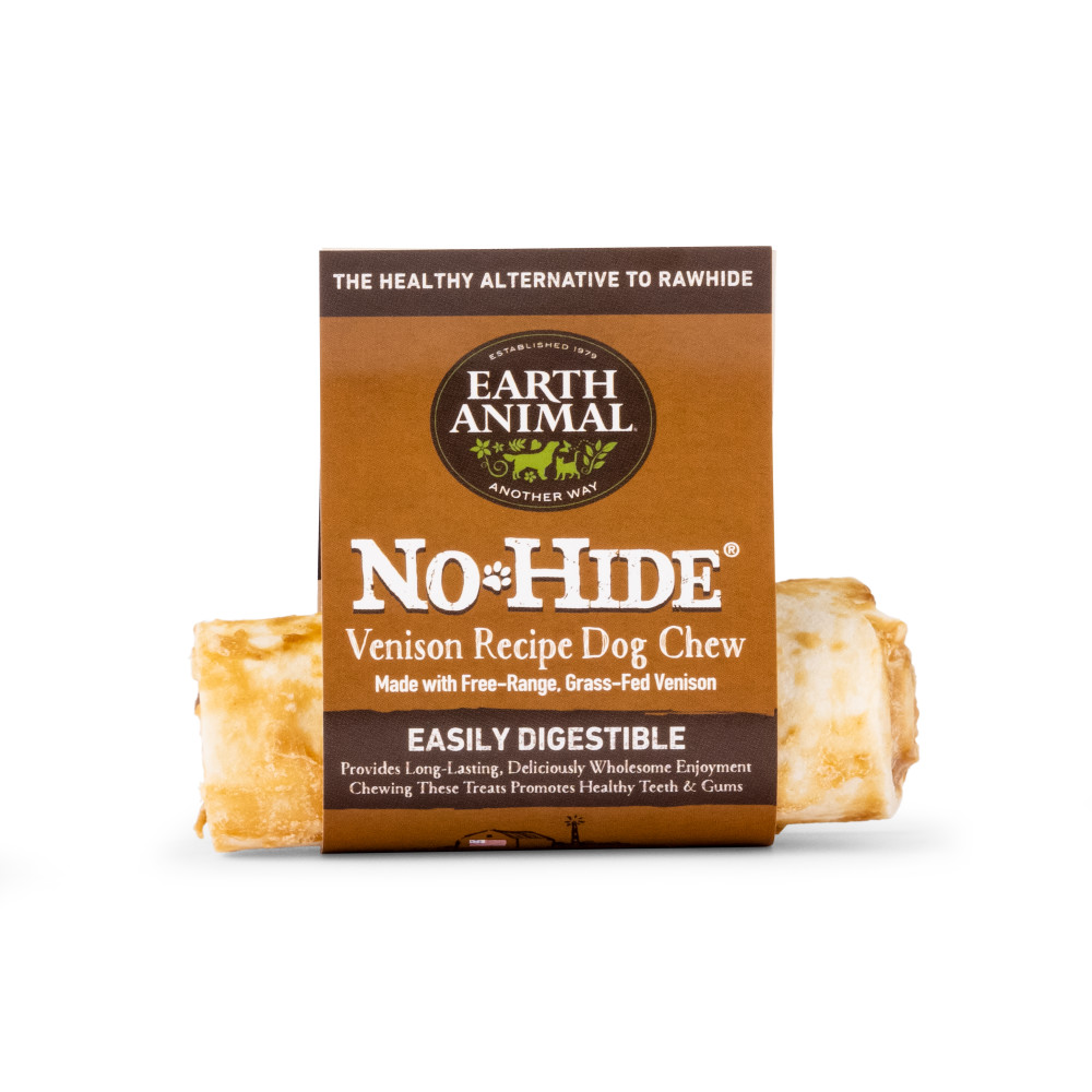 Earth Animal No-Hide Venison Chew Dog Treats, 4-in