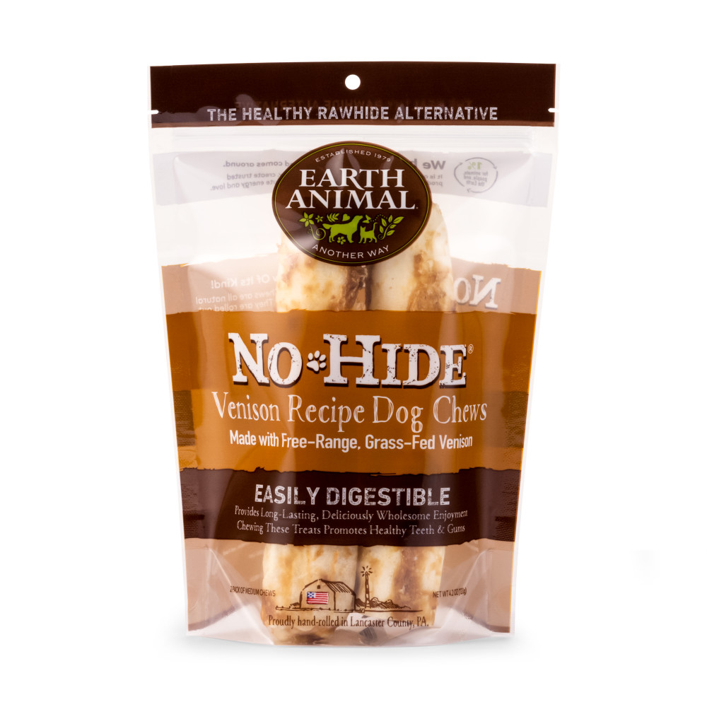 Earth Animal No-Hide Venison Chew Dog Treat, 7-in, 2-pack
