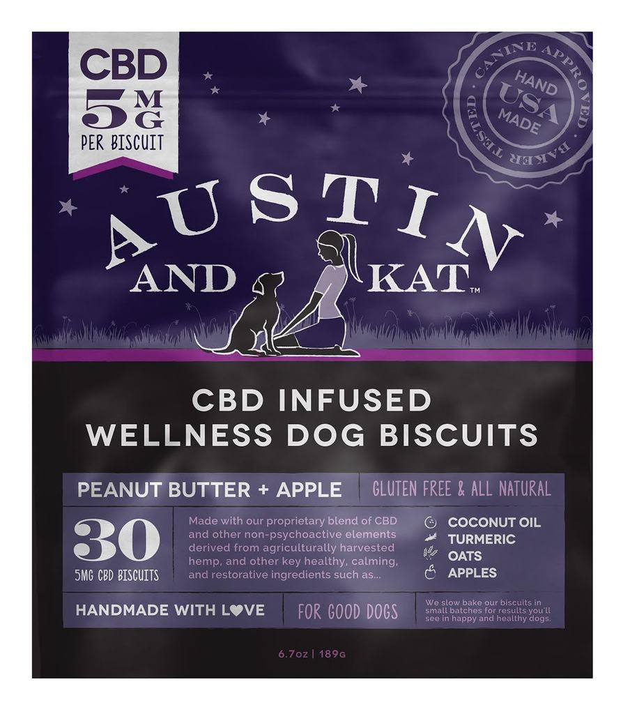 Austin & Kat Biscuit Peanut Butter & Apple Dog Treat, 5-mg, 30-count