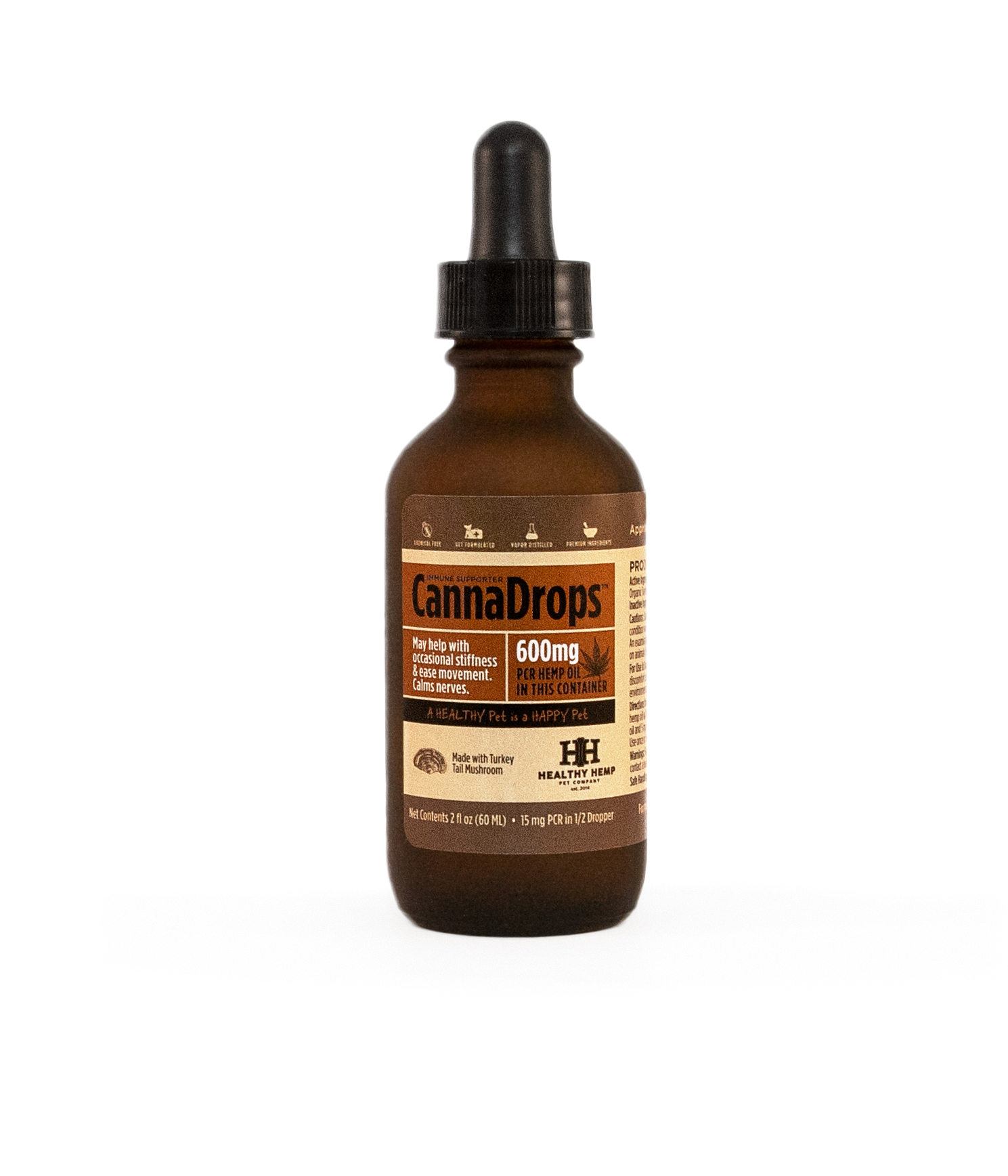 Healthy Pet CannaDrops Immunity Support With Turkey Tail, 2-oz (600mg)