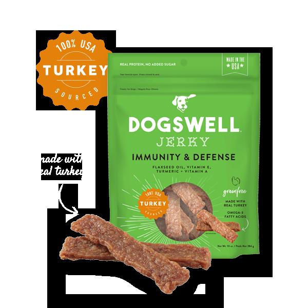 Dogswell Immunity & Defense Grain-Free Turkey Jerky Treat, 10-oz