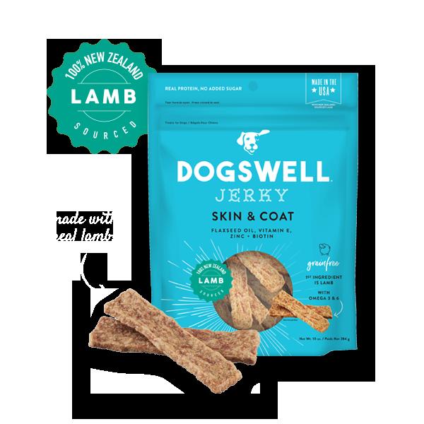 Dogswell Skin & Coat Grain-Free Lamb Jerky Treat, 10-oz