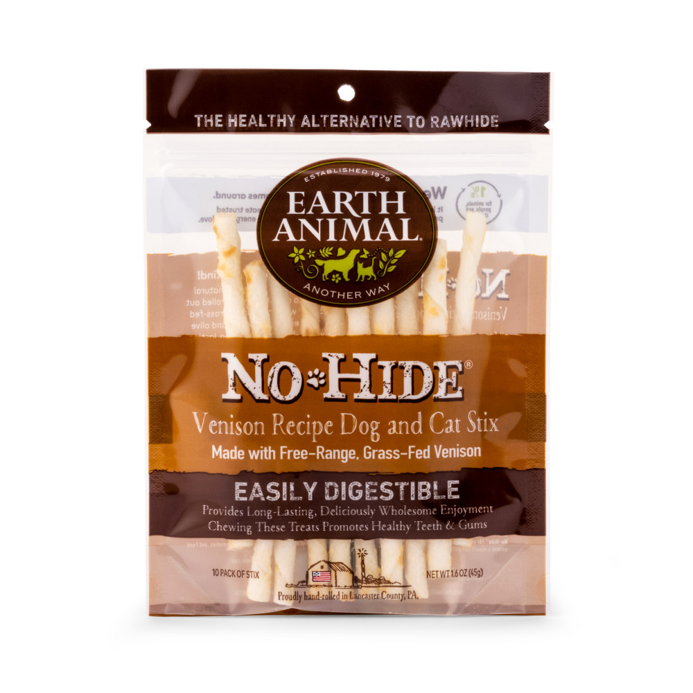 Earth Animal No-Hide Venison Stix Chew Dog Treat, 10-pack