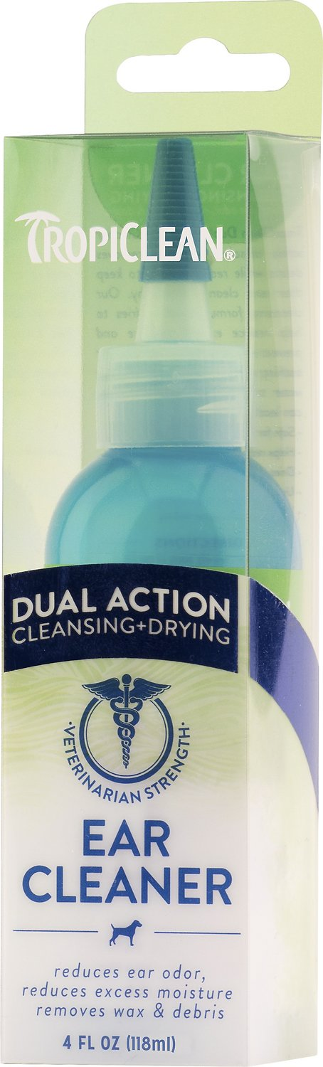 TropiClean Dual Action Ear Cleaner for Dogs, 4-oz bottle