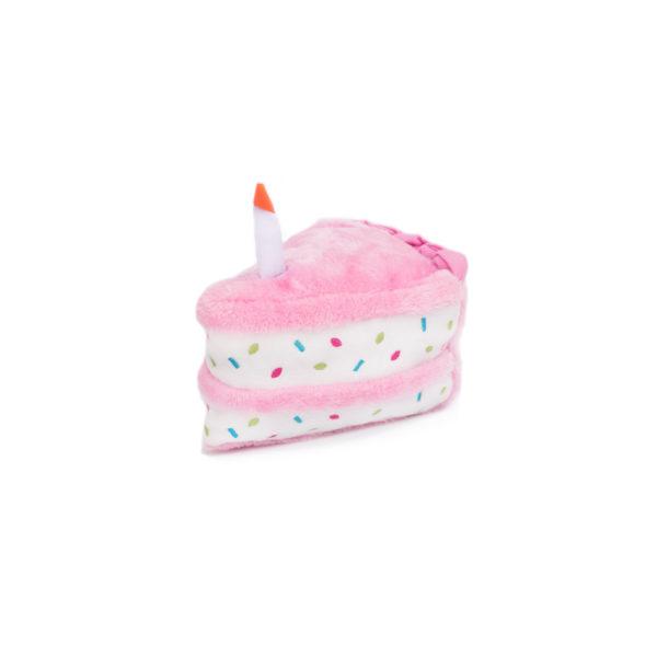 ZippyPaws Birthday Cake Plush Dog Toy, Pink