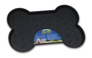 Loving Pets Spill-Proof Bone Shaped Dog Mat, Black, Small