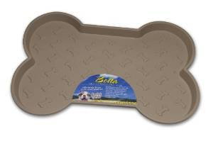 Loving Pets Spill-Proof Bone Shaped Dog Mat, Tan, Large