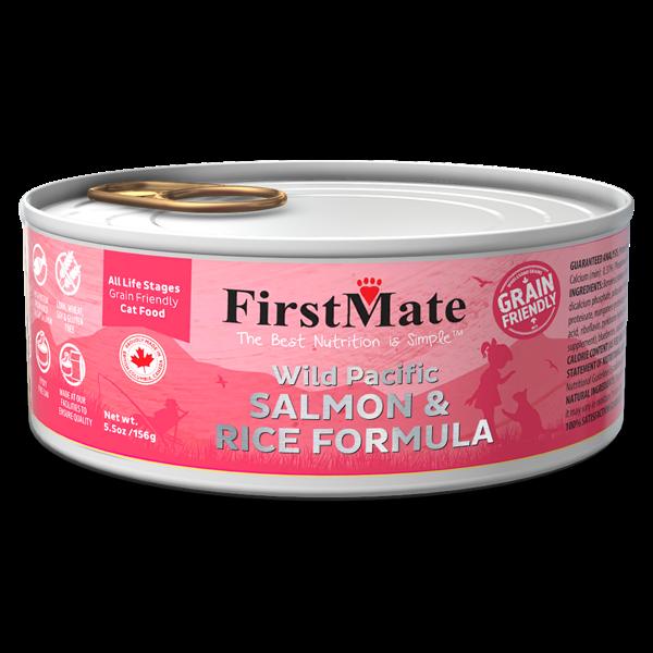 FirstMate Grain Friendly Wild Salmon & Rice Wet Cat Food, 5.5-oz