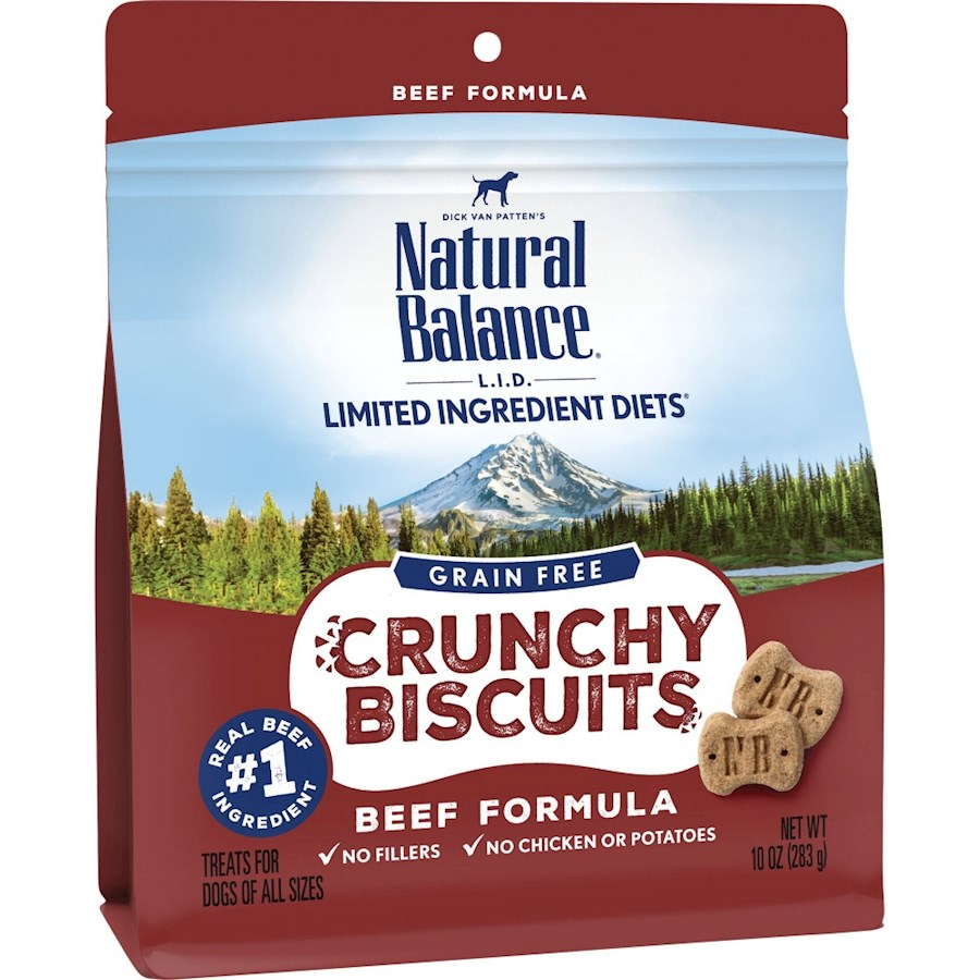 Natural Balance L.I.D. Crunchy Biscuits Beef Formula Dog Treats, 10-oz