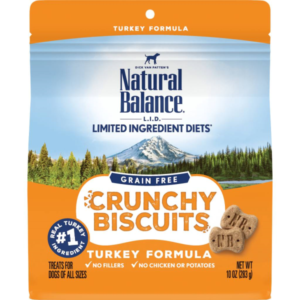 Natural Balance L.I.D. Crunchy Biscuits Turkey Formula Dog Treats, 10-oz