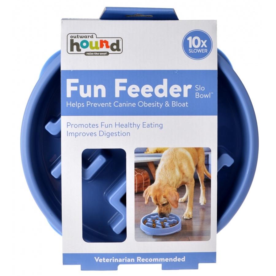 Outward Hound Fun Feeder Interactive Dog Bowl, Blue, Small