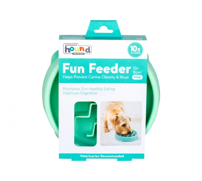 Outward Hound Fun Feeder Interactive Dog Bowl, Tiny, Mint