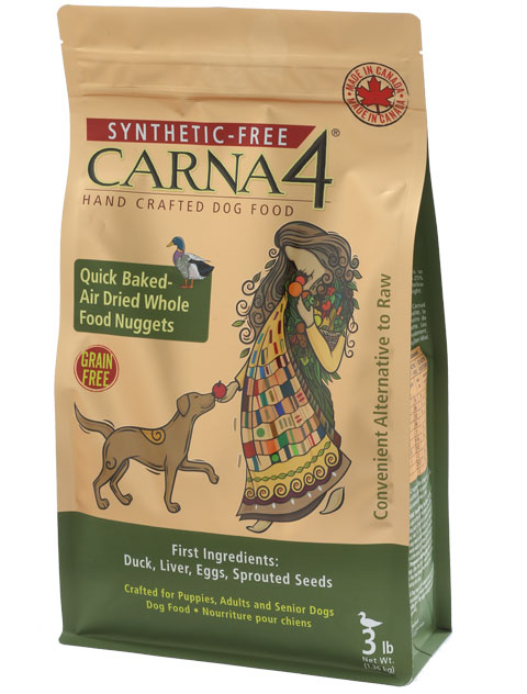 Carna4 Airdried Grain-Free Quick Baked Duck Dog Food, 3-lb
