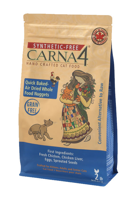 Carna4 Airdried Grain-Free Quick Baked Chicken Cat Food, 2-lb