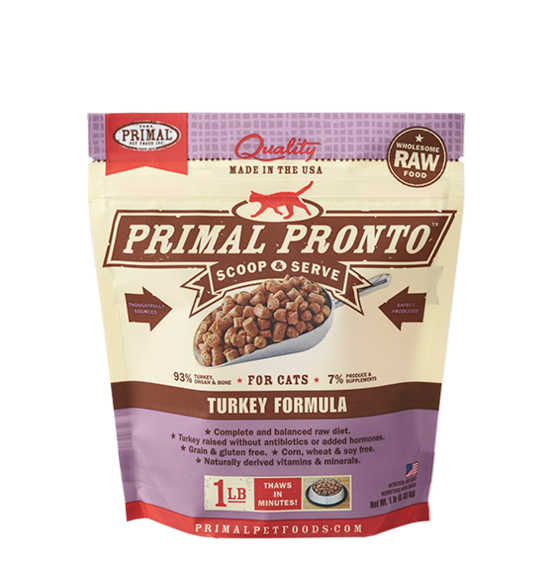 Primal Pronto Raw Turkey Frozen Cat Food, 1-lb