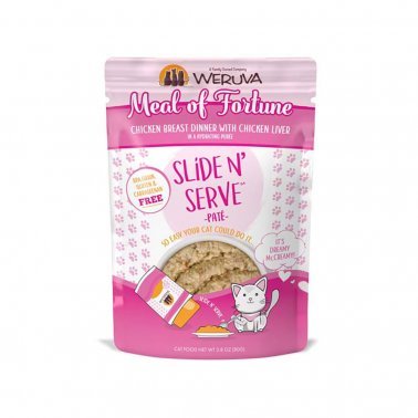 Weruva Cat Slide N' Serve Pate Meal of Fortune Chicken Liver Wet CatFood, 2.8-oz