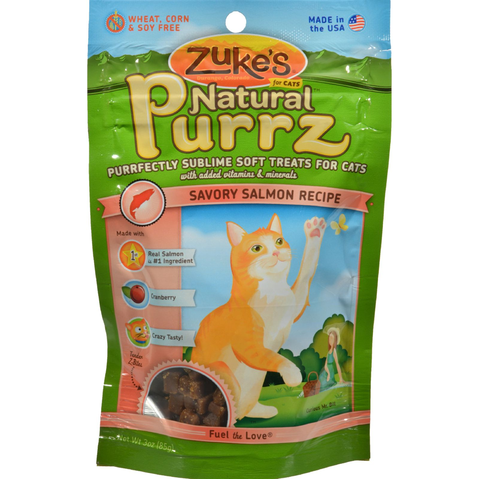 Zuke's Natural Purrz Salmon Cat Treats, 3-oz