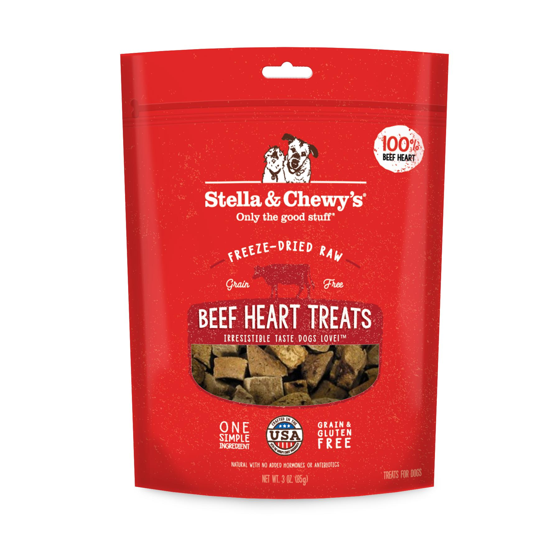 Stella & Chewy's Beef Hearts Freeze-Dried Dog Treats, 3-oz