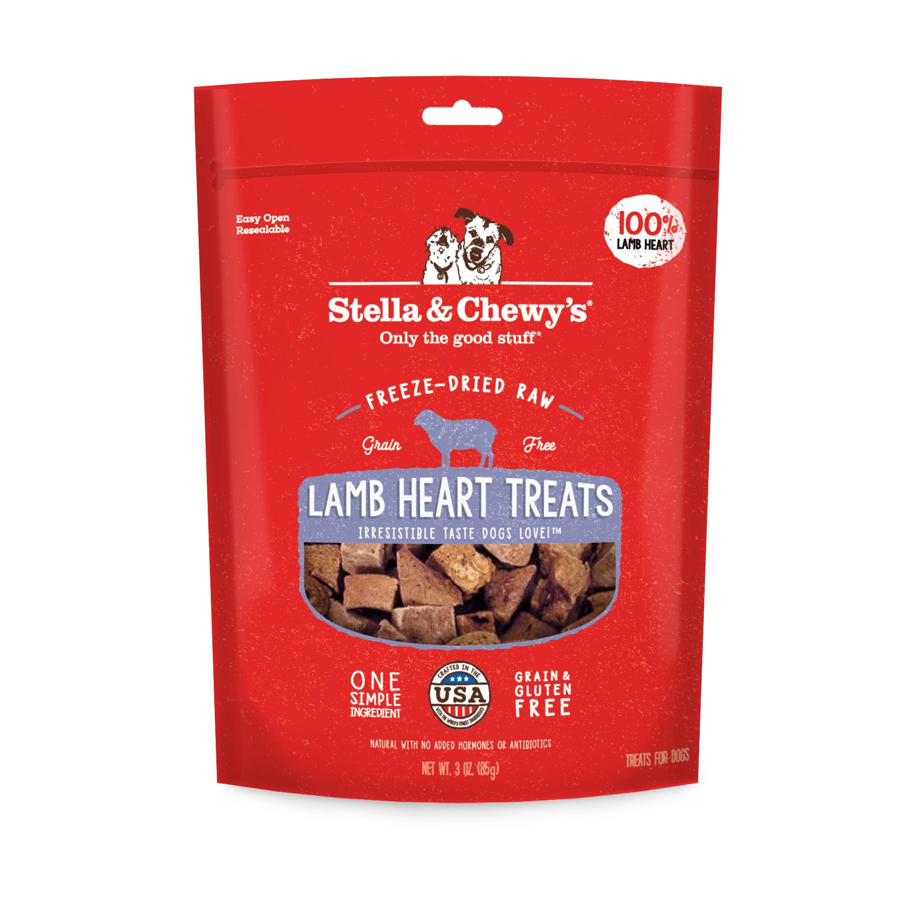 Stella & Chewy's Lamb Hearts Freeze-Dried Dog Treats, 3-oz