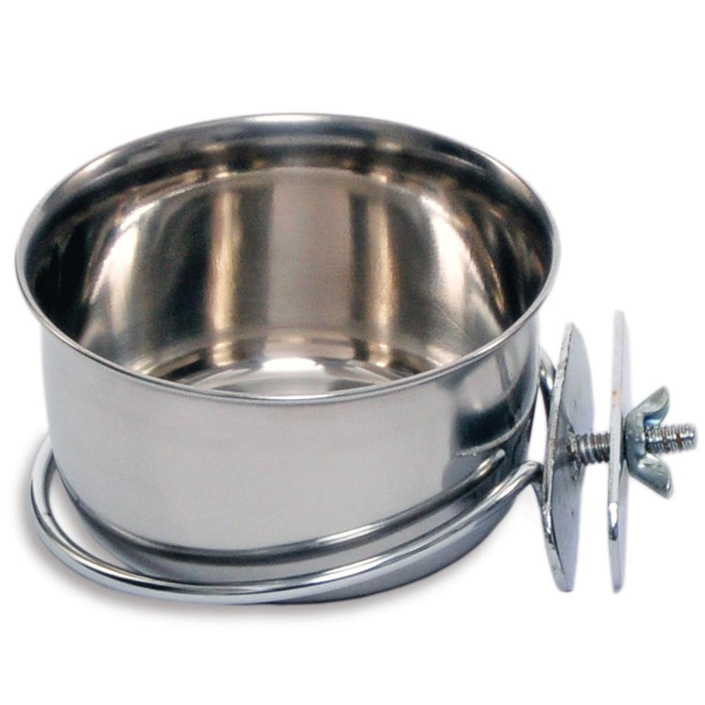 Prevue Pet Products Stainless Steel Coop Cup with Bolt-on Attachment, 10-oz