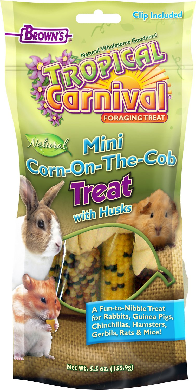 Brown's Tropical Carnival Mini Corn-on-the-Cob with Husks Small Animal Treats, 5.5-oz bag