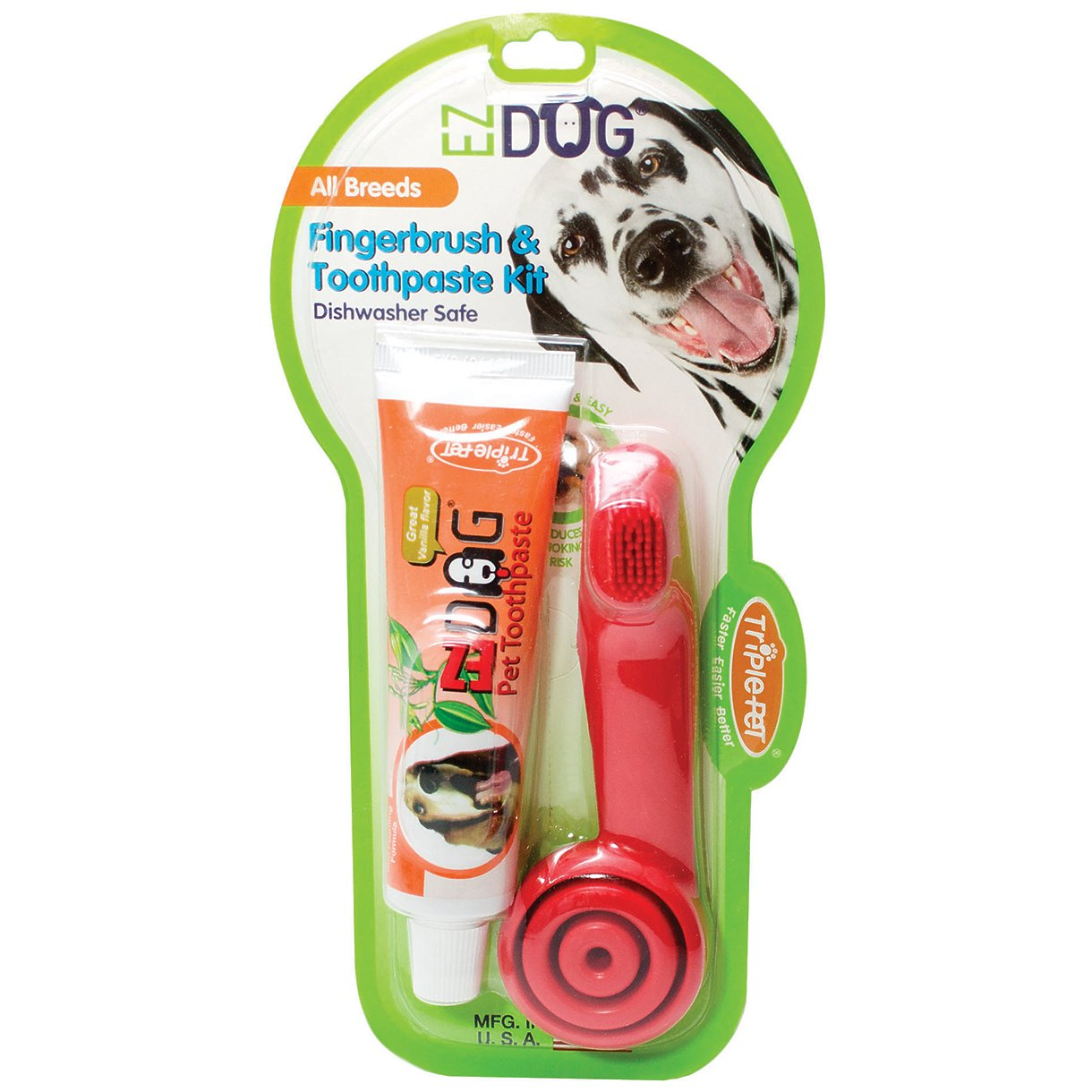 EZDOG Fingerbrush with Handle and Toothpaste Kit for Dogs