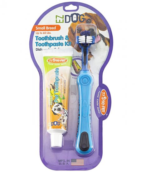 EZDOG Toothbrush and Toothpaste Kit for Small Breed Dogs