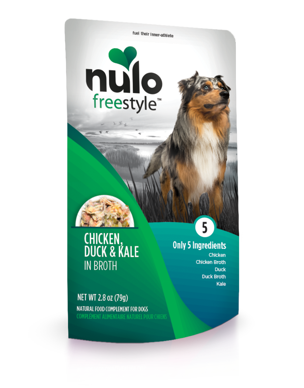 Nulo Dog Freestyle Pouch Chicken, Duck & Kale in Broth Grain-Free Dog Food Topper, 2.8-oz