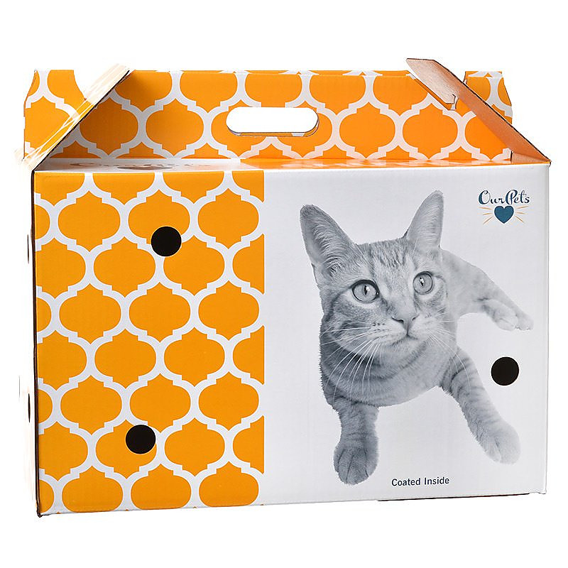 OurPets Cosmic Catnip Pet Shuttle Cardboard Carrier, Small (Size: Small) Image