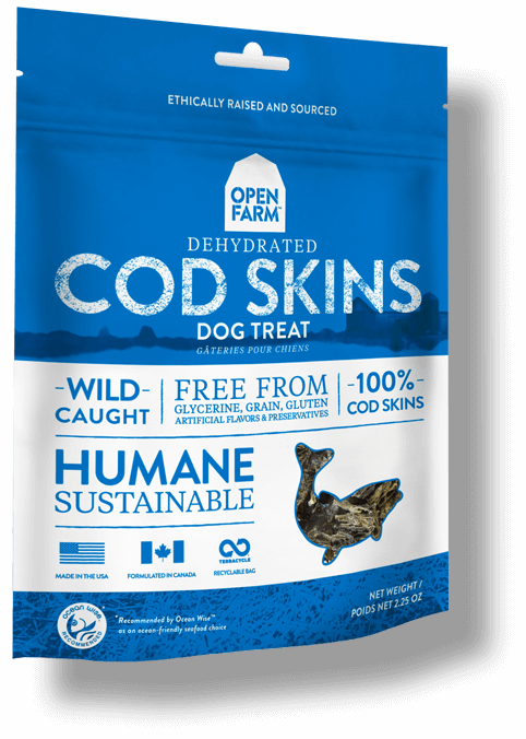 Open Farm Dehydrated Cod Skins Dog Treat, 2.25-oz