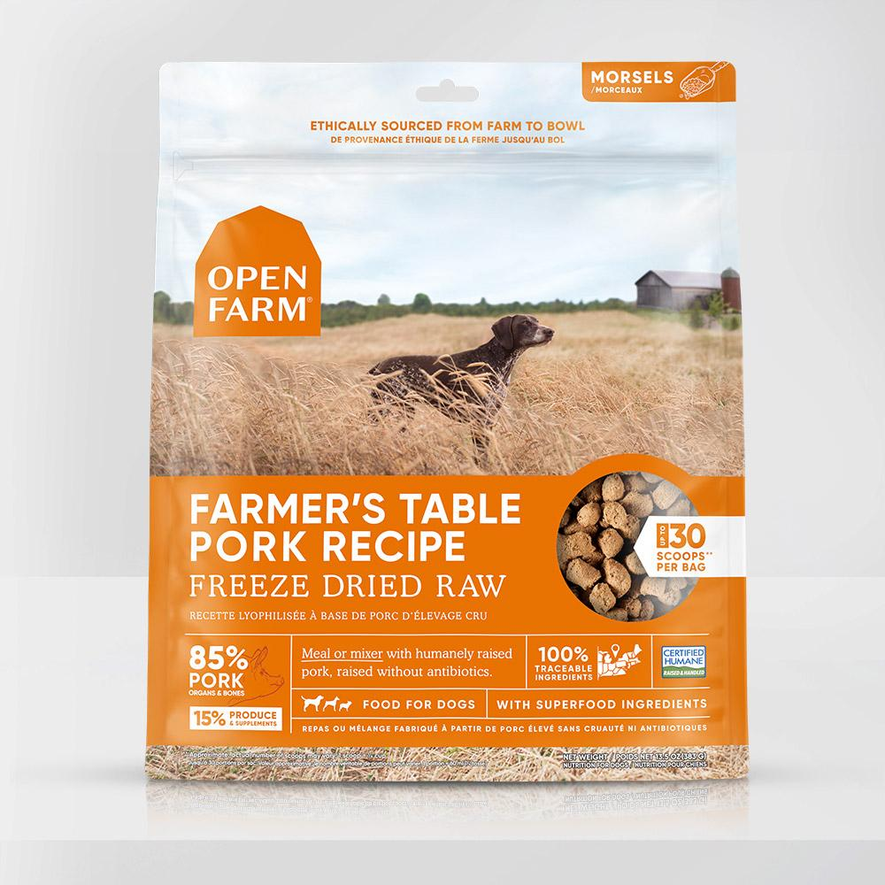 Open Farm Farmer's Table Pork Recipe Raw Freeze-Dried Dog Food, 13.5-oz (Size: 13.5-oz) Image