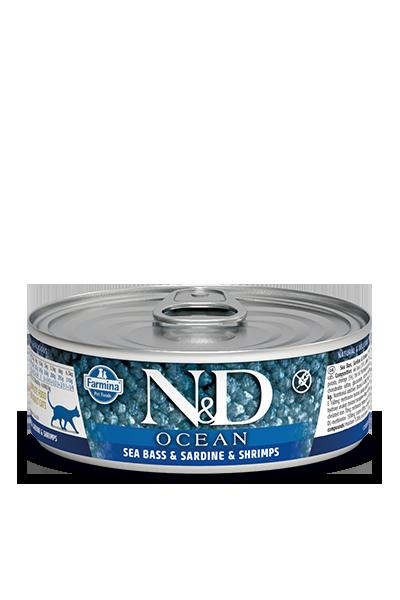 Farmina N&D Ocean Sea Bass, Sardine & Shrimp Adult Cat Wet Food, 2.8-oz