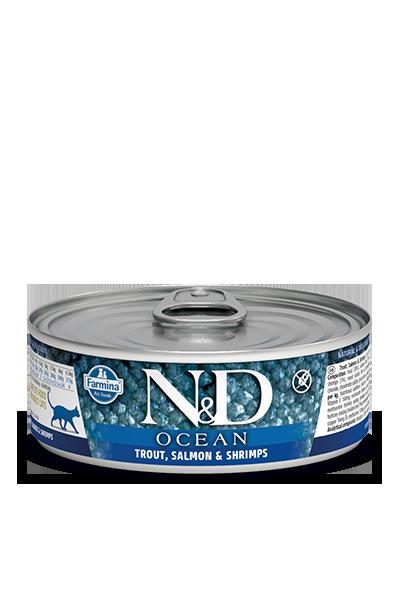 Farmina N&D Ocean Trout, Salmon & Shrimp Adult Cat Wet Food, 2.8-oz