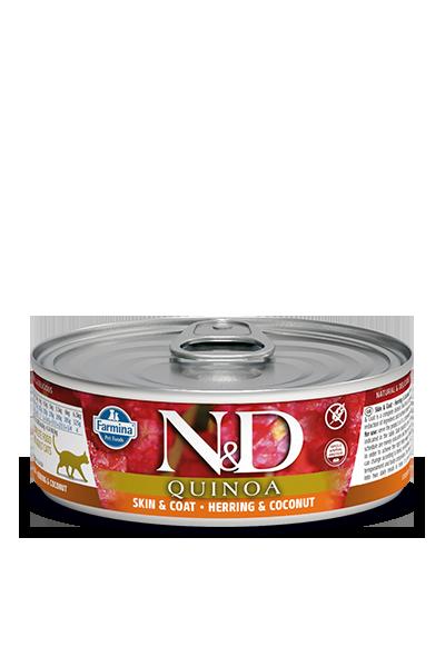 Farmina N&D Quinoa Skin & Coat Herring Wet Cat Food, 2.8-oz, case of 12